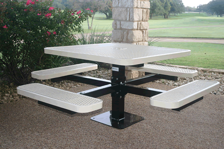 "46"" Rivendale Square Pedestal Table, Expanded Metal, Inground Mount, Standard Thermoplastic Coating"