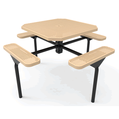 Lexington Octagon Nexus Pedestal Table, Frame with Powder Coat Finish, Top and Seats with Advanced DuraLex Coating