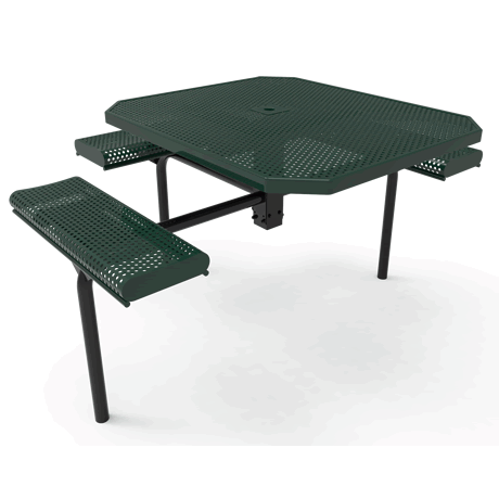 Lexington Octagon Nexus Pedestal Table with Rolled Seats - ADA Accessible, Frame with Powder Coat Finish, Top and Seats with Advanced DuraLex Coating