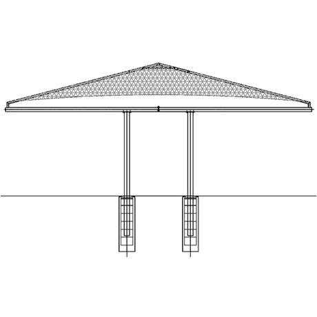 Double Post (Back2Back) Cantilever Hip 10EH x 19x20 Shade Structure