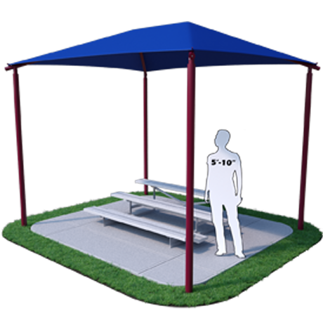 Shade Structure for 3 Row x 7.5' L Bleachers