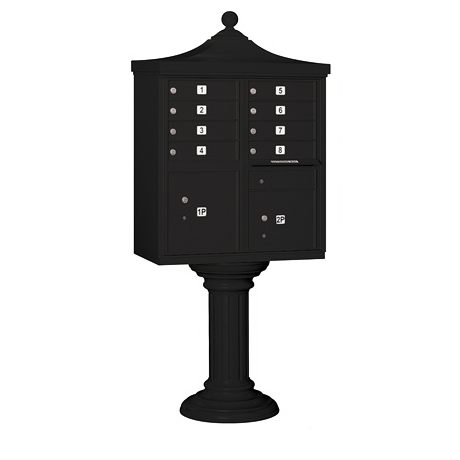 "Delux Cluster Mailbox Unit with 8 ""A"" Size Doors, Decorative Top and Pedestal Cover"