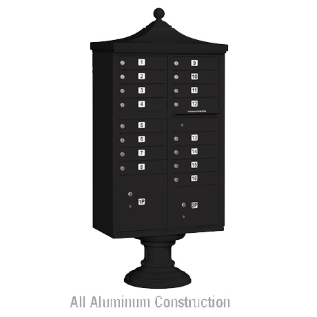 "Delux Cluster Mailbox Unit with 16 ""A"" Size Doors, Decorative Top and Pedestal Cover"