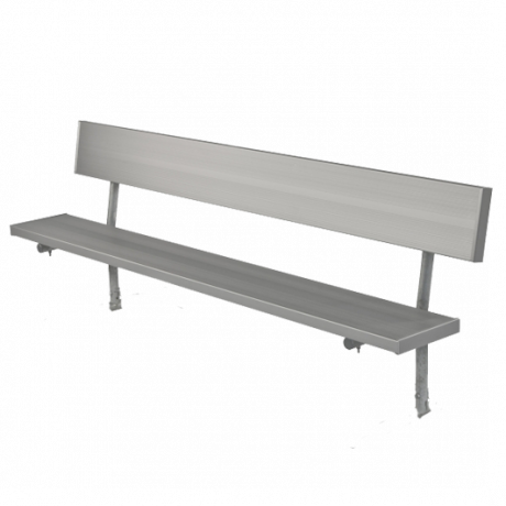 Stationary Bench with Back, 2 3/8 In. O.D. Galvanized Tube, 2 In. x 10 In. Aluminum Planks-Benches and Glider Benches