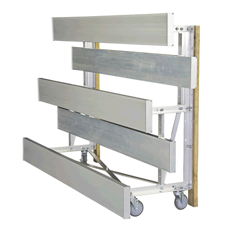 "3 Row Tip N' Roll 6"" Low Rise Bleacher with Aluminum Frame"