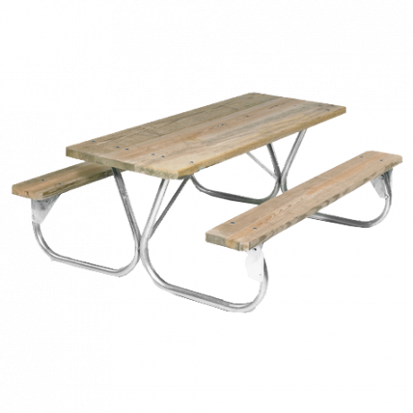 Pocono Style with Wood Plank Top-Picnic Tables