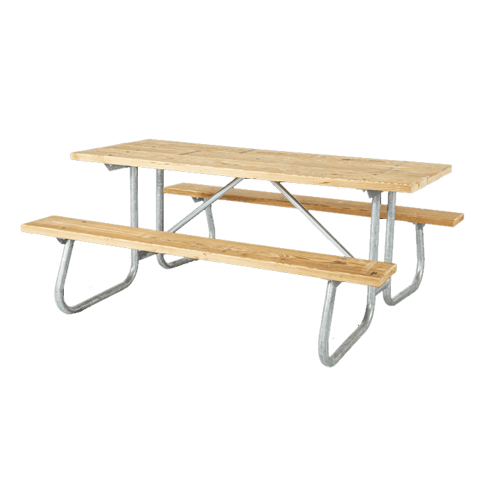 St. James Welded Frame Picnic Table with Treated Southern Yellow Pine Wood Plank Top and Benches