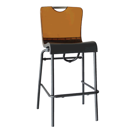 Krystal Stacking Barstool - Amber Back with Charcoal Seat