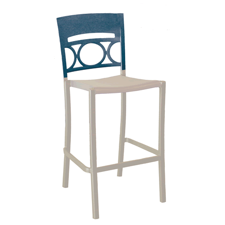 Moon Stacking Barstool - Denim Blue Back with Linen Seat