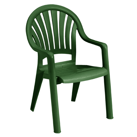 Pacific Fanback Stacking Armchair - Amazon Green