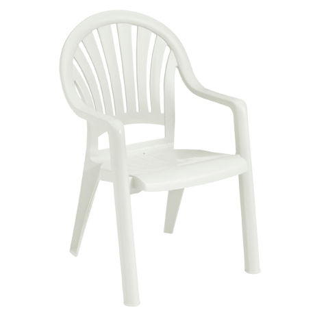 Pacific Fanback Stacking Armchair - White