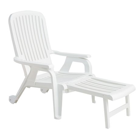 Bahia Stacking Deck Chair, Footrest Extended - White