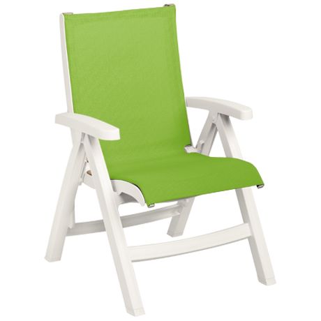 Belize Midback Folding Sling Chair - White Frame with Fern Green Sling