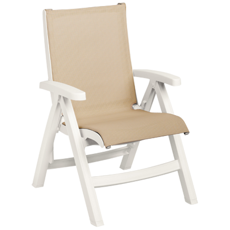 Belize Midback Folding Sling Chair - White Frame with Khaki Sling