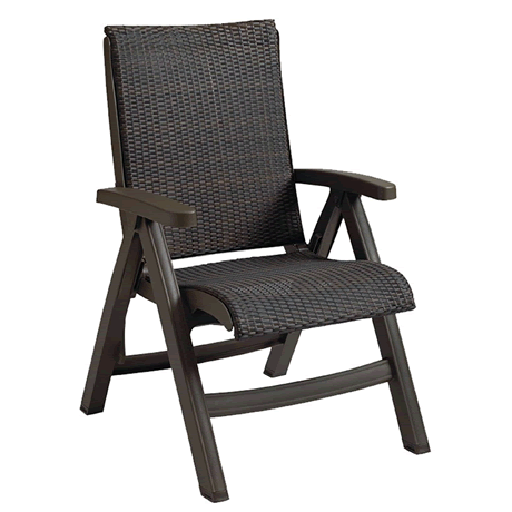 Java All-Weather Wicker Folding Chair - Espresso Wicker Weave on Espresso Frame