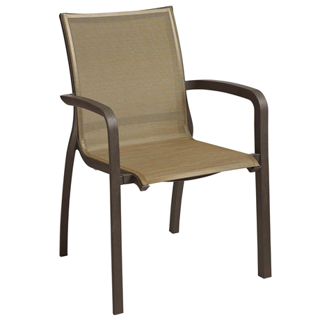 Sunset Stacking Armchair 4 Pack, Cognac Sling with Fusion Bronze Frame
