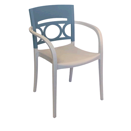 Moon Stacking Armchair - Denim Blue Back with Linen Seat