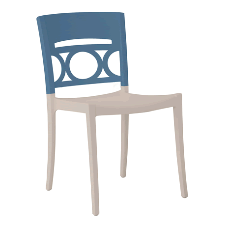 Moon Stacking Side Chair - Denim Blue Back with Linen Seat