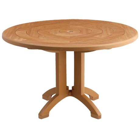 Grosfillex Atlantis 48 In. Round Pedestal Table with Umbrella Hole-Dining Tables