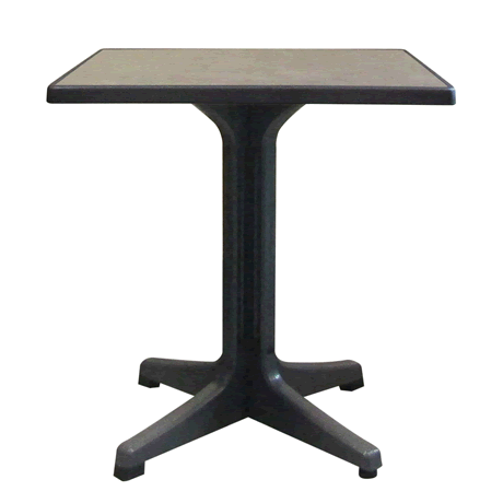 "Omega Pedestal Table with Charcoal Base and 28"" Square Metal Brushed Top"