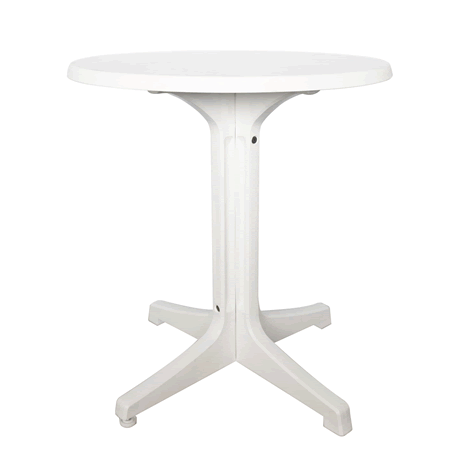 Omega Pedestal Table with White Base and Marble White Top