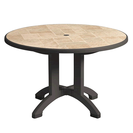 "Aquaba 48"" Round Pedestal Table - Toscana Decor Top with Charcoal Legs"