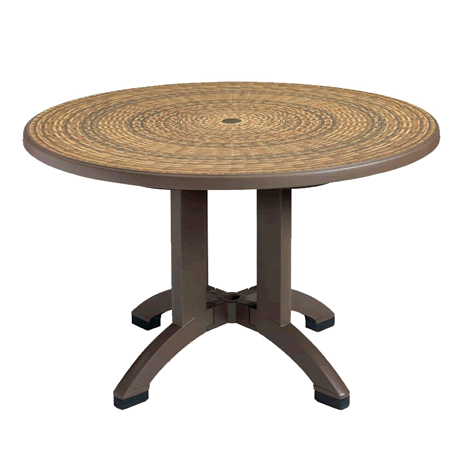"Aquaba 48"" Round Pedestal Table - Wicker Decor Top with Bronze Legs"