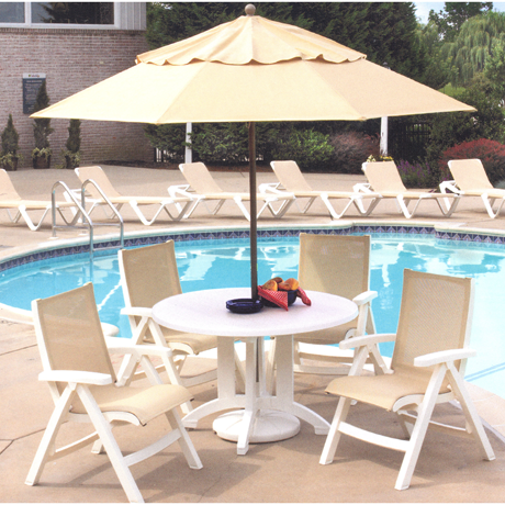 "Aquaba 48"" Round Pedestal Table - Poolside Seating"