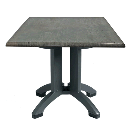 "Atlanta Molded Melamine Table with Charcoal Legs and 32"" Square Granite Décor Top"
