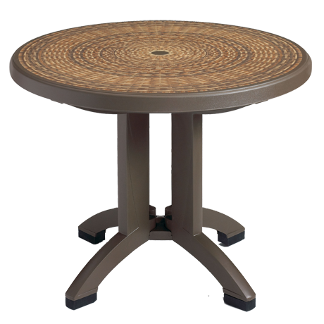 Grosfillex Havana 38 In. Round Folding Table-Dining Tables