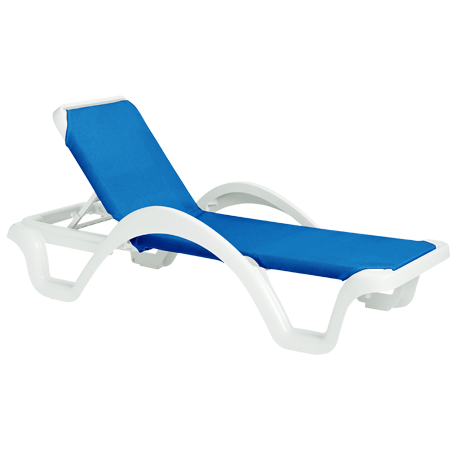 Grosfillex Catalina Adjustable Sling Chaise Lounge with Arms with White Frame-