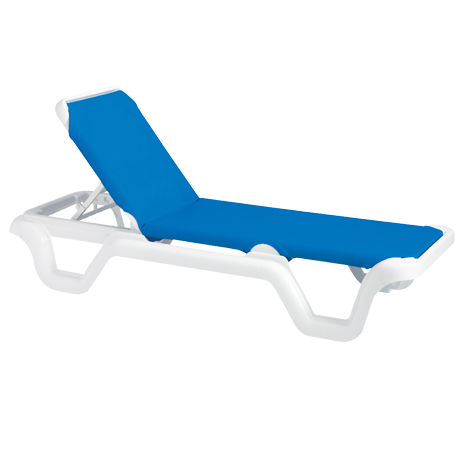 Marina Adjustable Sling Chaise Lounge without Arms - White Frame with Blue Sling