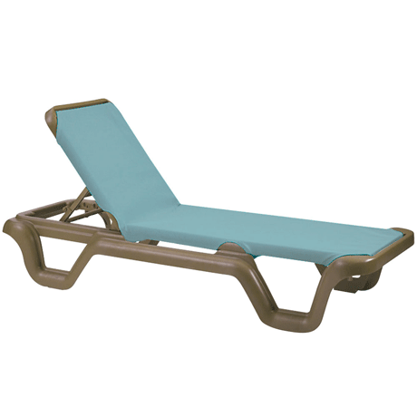 Marina Adjustable Sling Chaise Lounge without Arms - Bronze Frame with Spa Blue Sling