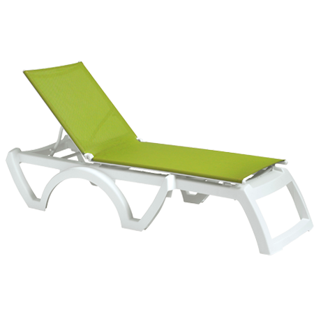 Calypso Adjustable Sling Chaise Lounge without Arms - White Frame with Fern Green Sling