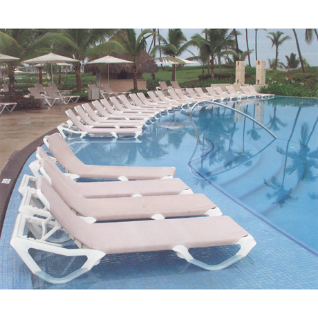 Nautical Adjustable Sling Chaise Lounge without Arms - By the Poolside