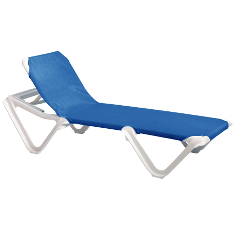 Nautical Adjustable Sling Chaise Lounge without Arms - White Frame with Blue Sling