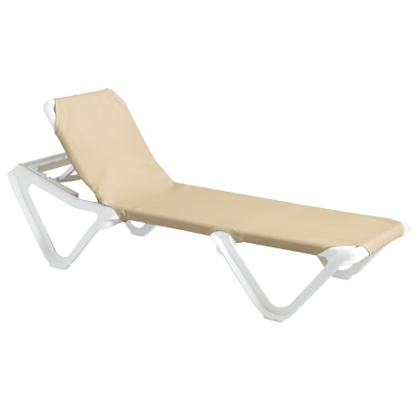 Nautical Adjustable Sling Chaise Lounge without Arms - White Frame with Khaki Sling