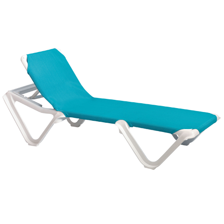 Nautical Adjustable Sling Chaise Lounge without Arms - White Frame with Turquoise Sling