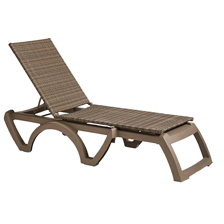 Java All-Weather Wicker Chaise Lounge, Frame Color: Taupe, Mocacchino Wicker Weave