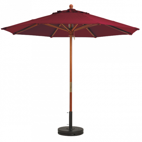 "Wooden Market Umbrella with 1-1/2"" Pole - Burgundy"