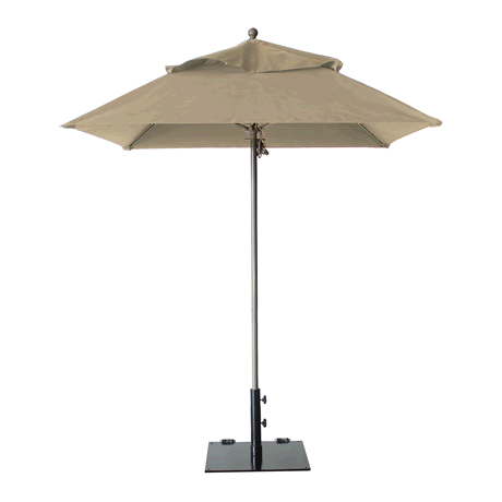 "Windmaster Square Fiberglass Umbrella with 1-1/2"" Aluminum Pole - Khaki"
