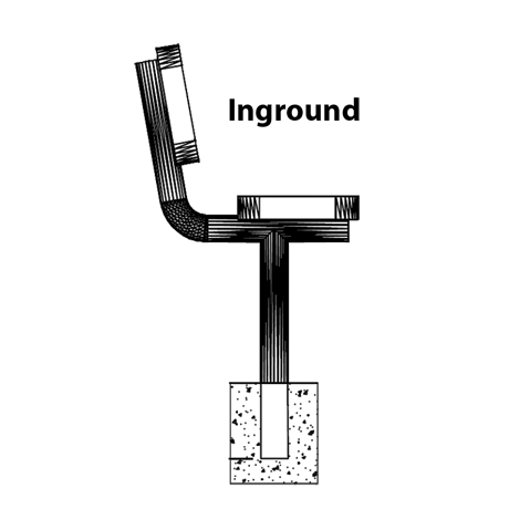 Champion Bench With Back, In-Ground Mount, Side View