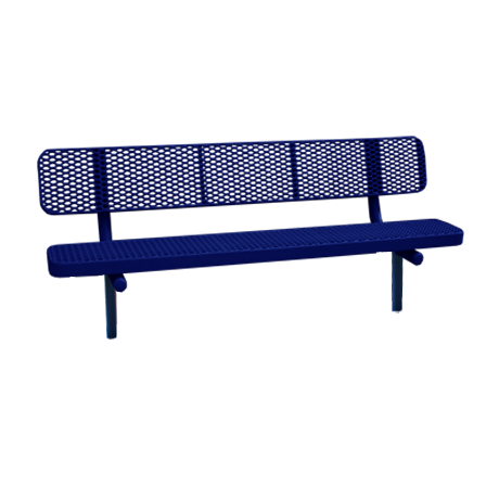 4' Champion Expanded Metal Bench With Back, In-Ground Mount