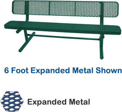 6' Champion Expanded Metal Bench With Back, Free Standing