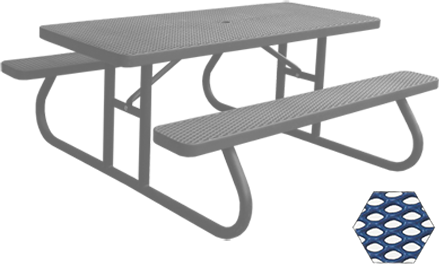 Commercial Picnic Table, Plastisol Coated Expanded Metal - Champion Series, 6 Ft. Long Rectangle, Two Attached Seats, Portable Mount