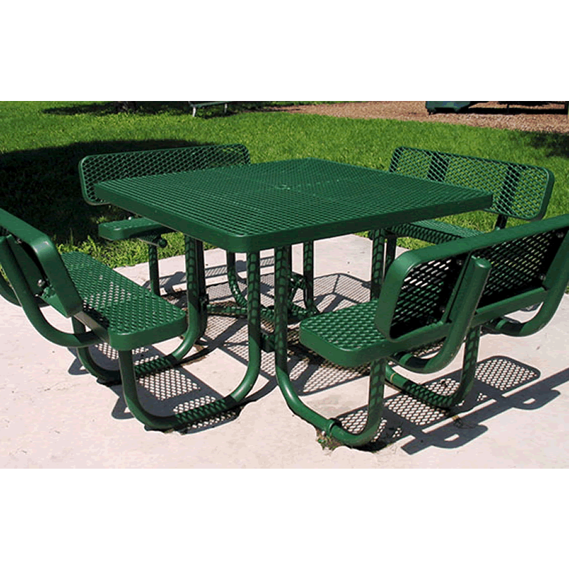 Champion Series Square Picnic Table with Back Rests - Free Standing - 4' Top