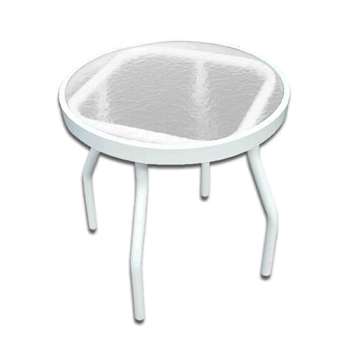 Acrylic Top Round Patio Side Table with Angled Round Tube Legs