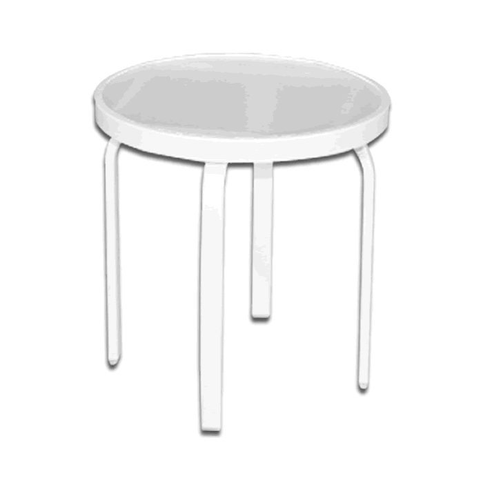 Acrylic Top Round Patio Side Table with Straight Rectangular Tube Legs
