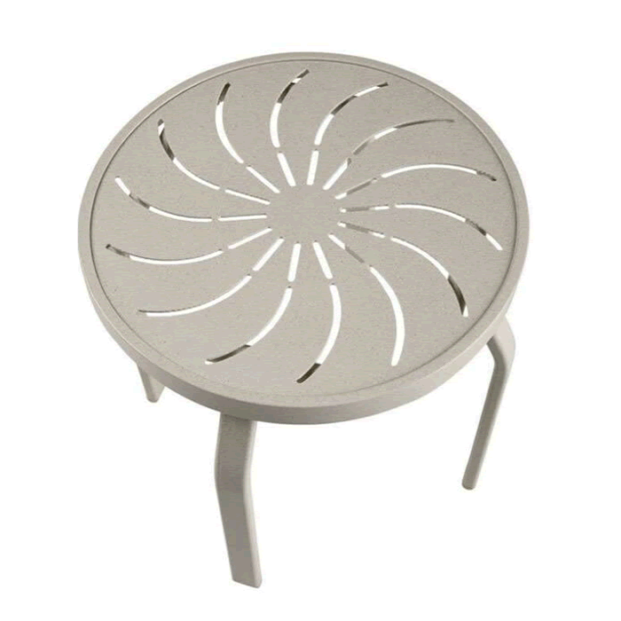 """18"""" Round Punched Metal Top Side Table"""
