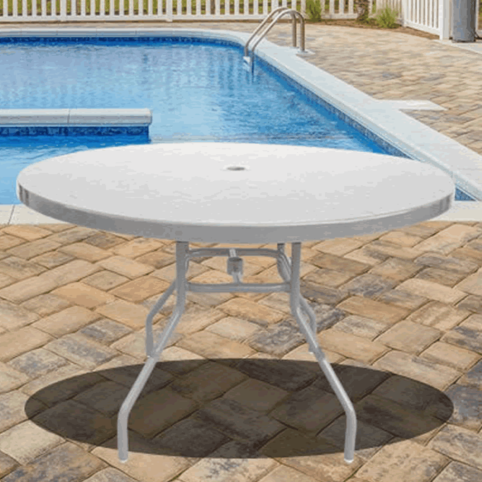 Fiberglass Top Round Outdoor Table with Round Tube Legs